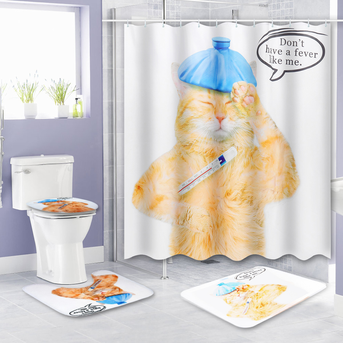 150 180x180cm Cat Bathroom Waterproof Shower Curtain With 12 White Plastic C Shaped Hooks