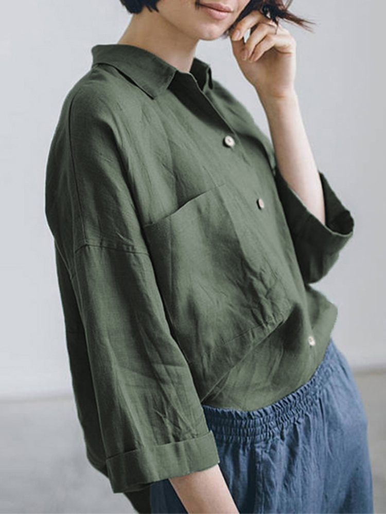 Women Turndown Collar 3/4 Sleeve Loose Solid Blouse