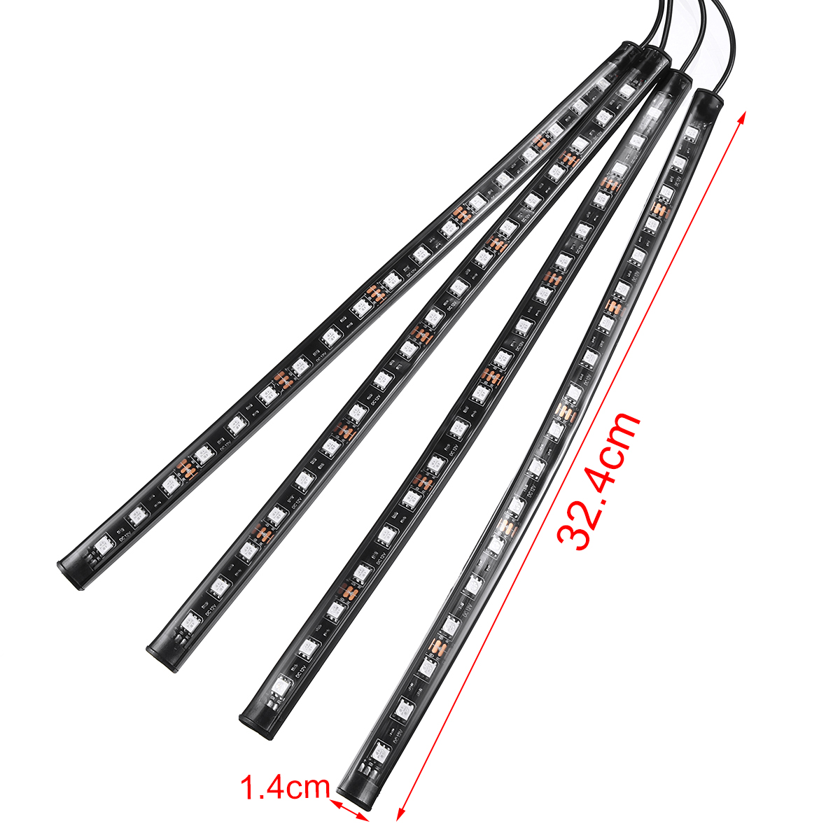 18 Led Colorful Car Interior Floor Rgb Strip Light Bar