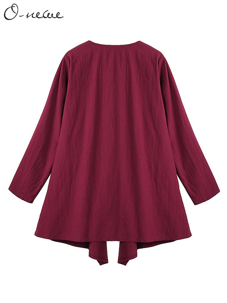 O-NEWE Vintage Women Chinese Style Pocket Irregular Solid Cardigan