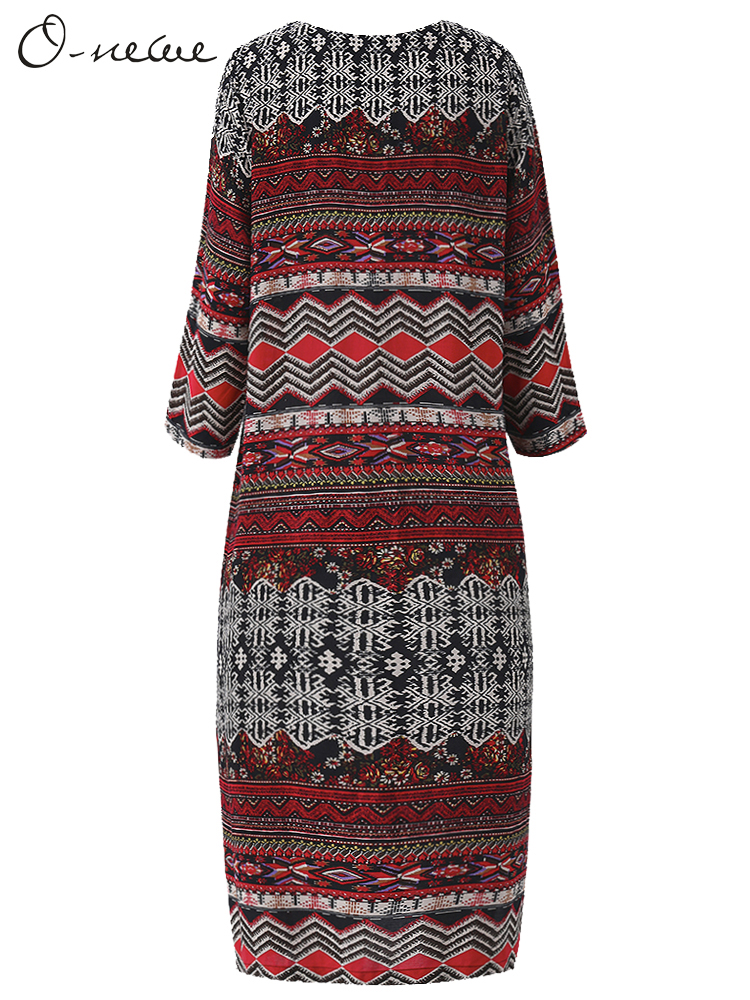 O-NEWE Plus Size Women Chinese Style Geometric Printed Midi Dress