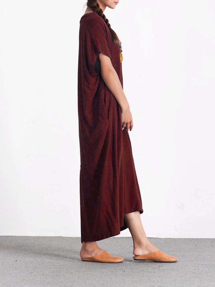 Casual Loose Short Sleeve V-neck Pure Color Maxi Dress