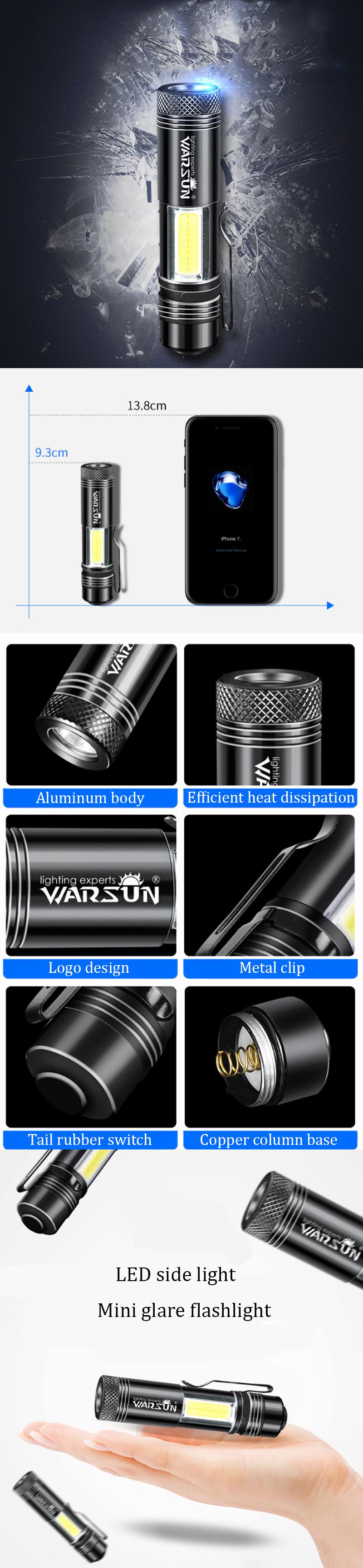 warsun zoom 8 14500 aa edc flashlight mini led torch ipx6 every day carry keychain light