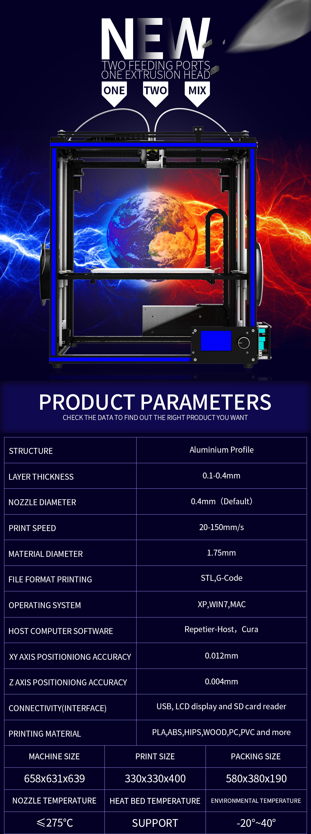 TRONXY® X5S-2E DIY Aluminium 3D Printer 330*330*400mm Printing Size Support Single/Dual/Mixed Color With Dual Z-axis Rod/Knob Button LCD Screen 6