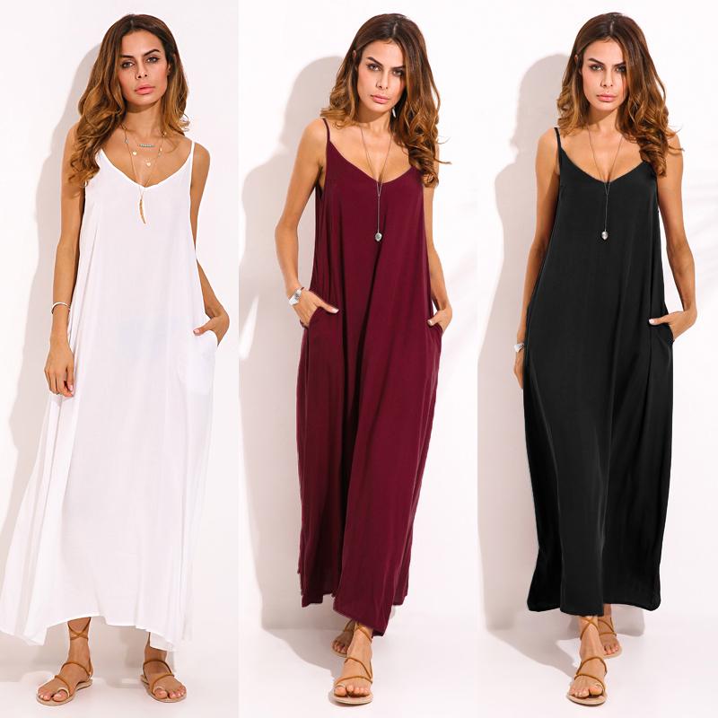ZANZEA Casual Women Spaghetti Strap V-neck Long Maxi Dresses