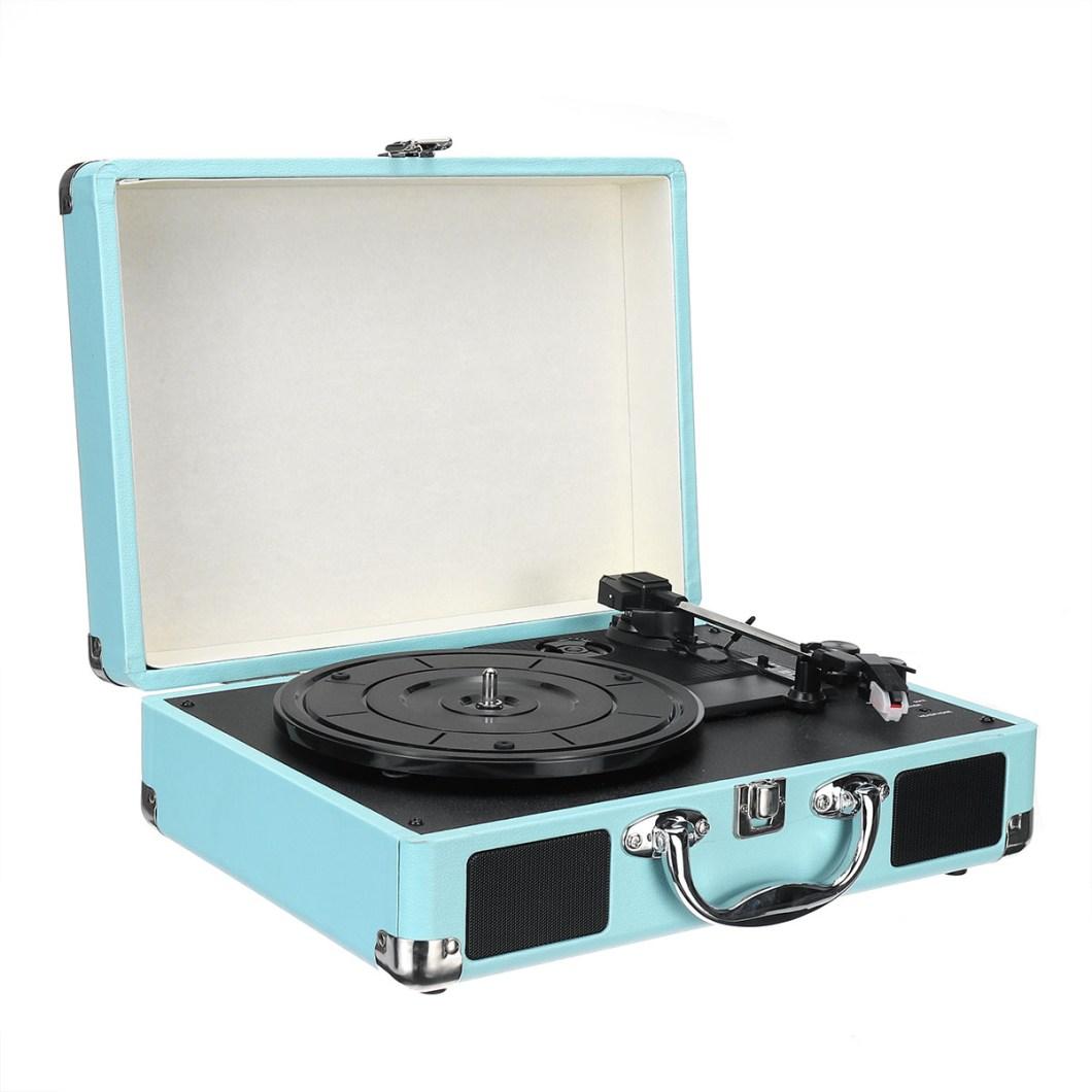 Vintage Vinyl LP Record Player Stereo Turntable 3Speed 2 Speakers Radio Recorder 34