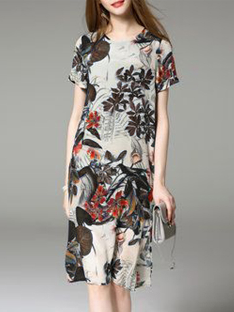 Women Floral Short Sleeve O-neck Loose Split Mini Dress