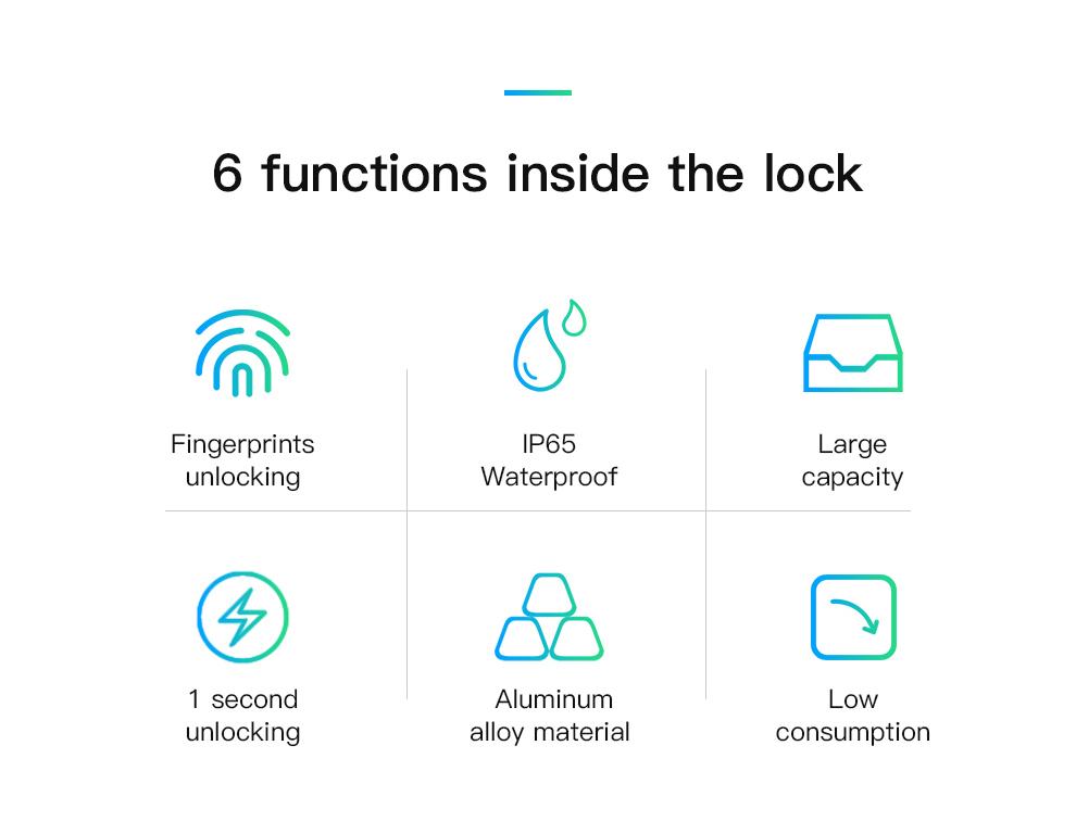 GQ10 Fingerprint Steel Ring Lock Rechargeable Fingerprint ...