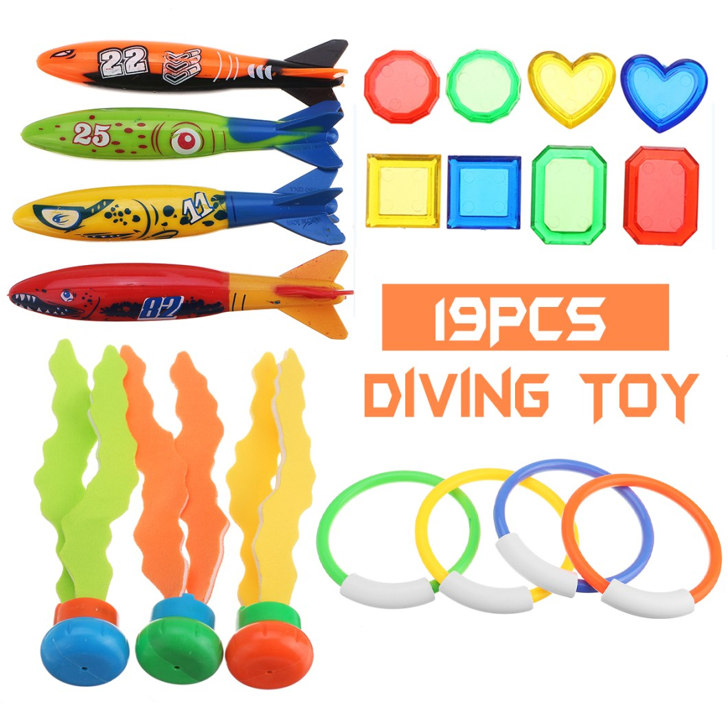 19PCS Swimming Pool Underwater Diving Toys Water Play Toys for Kids 10