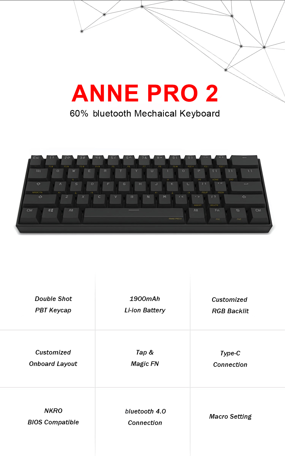 [Kailh BOX Switch]Obins Anne Pro 2 60% NKRO bluetooth 4.0 Type-C RGB Mechanical Gaming Keyboard 11