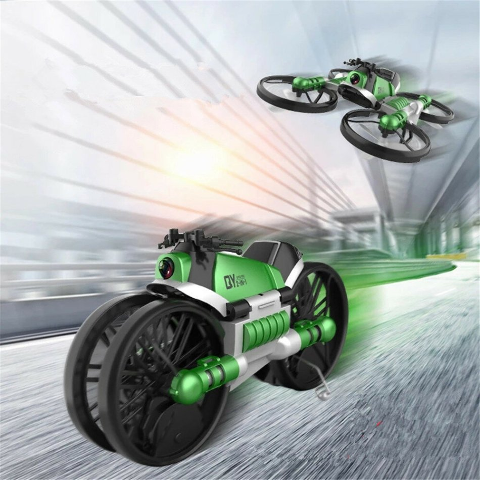 Qun Yi Toys H6 2.4G 2 In 1 WIFI FPV RC Deformation Motorcycle Quadcopter Car RTR Model