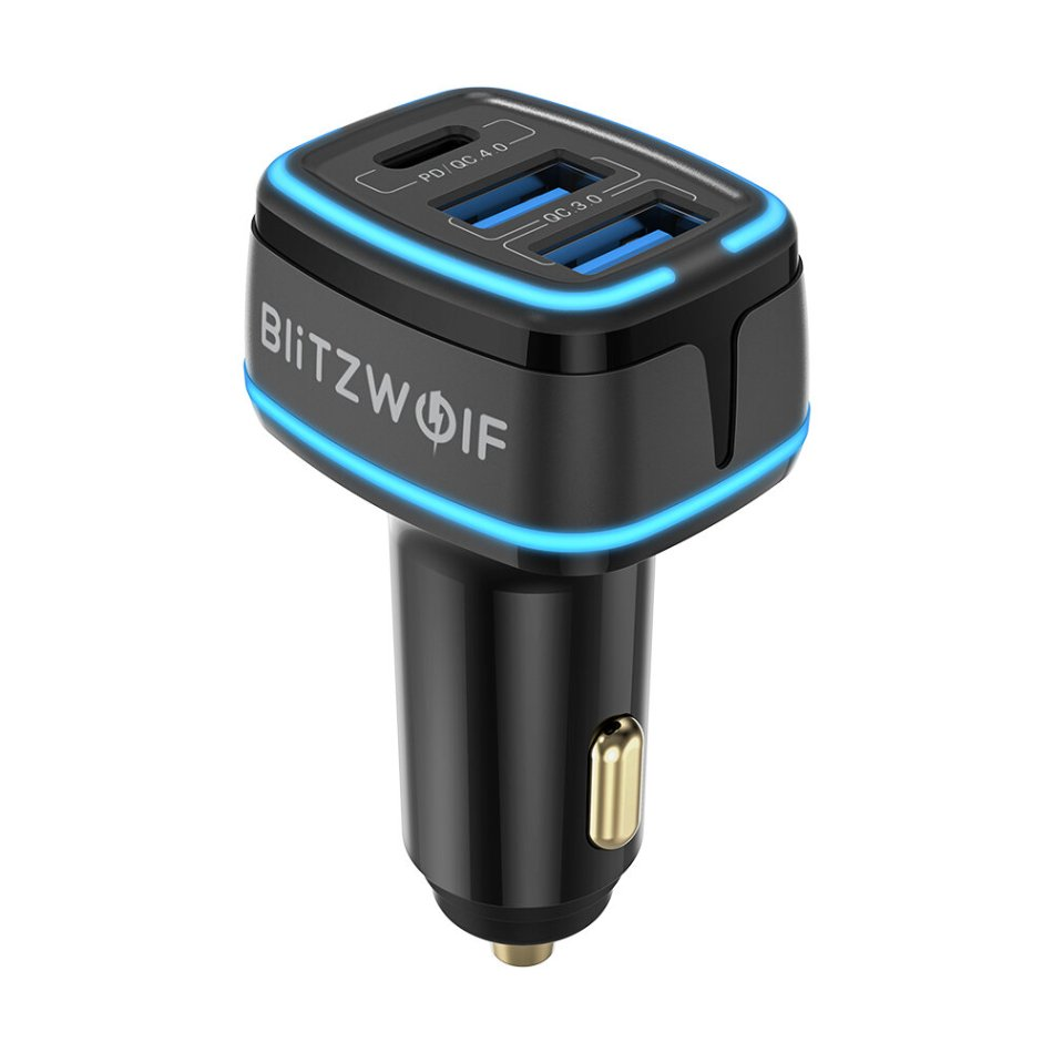 Blitzwolf® BW-SD7 80W 3-Port USB PD Car Charger Adapter 20W USB-C PD QC4.0 Dual 30W QC3.0 Support AFC FCP SCP PPS Fast Charging With Blue LED For iPhone 12 12 Mini 12 Pro Max For Samsung Galaxy Note 20 Huawei Mate 40 OnePlus 8T Xiaomi Mi10