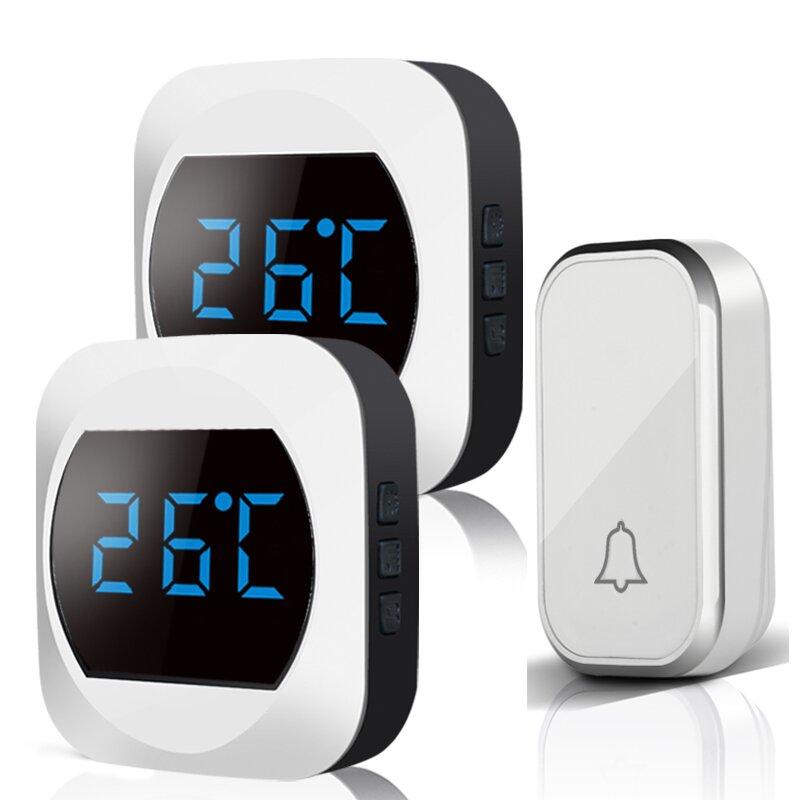 ML T195-BB Wireless Waterproof DoorBell Wireless Smart Doorbell LED Temperature Display 2-in-1 300M Rangee UK Plug for Home Office Temperature Self-powered No Battery Required Doorbell