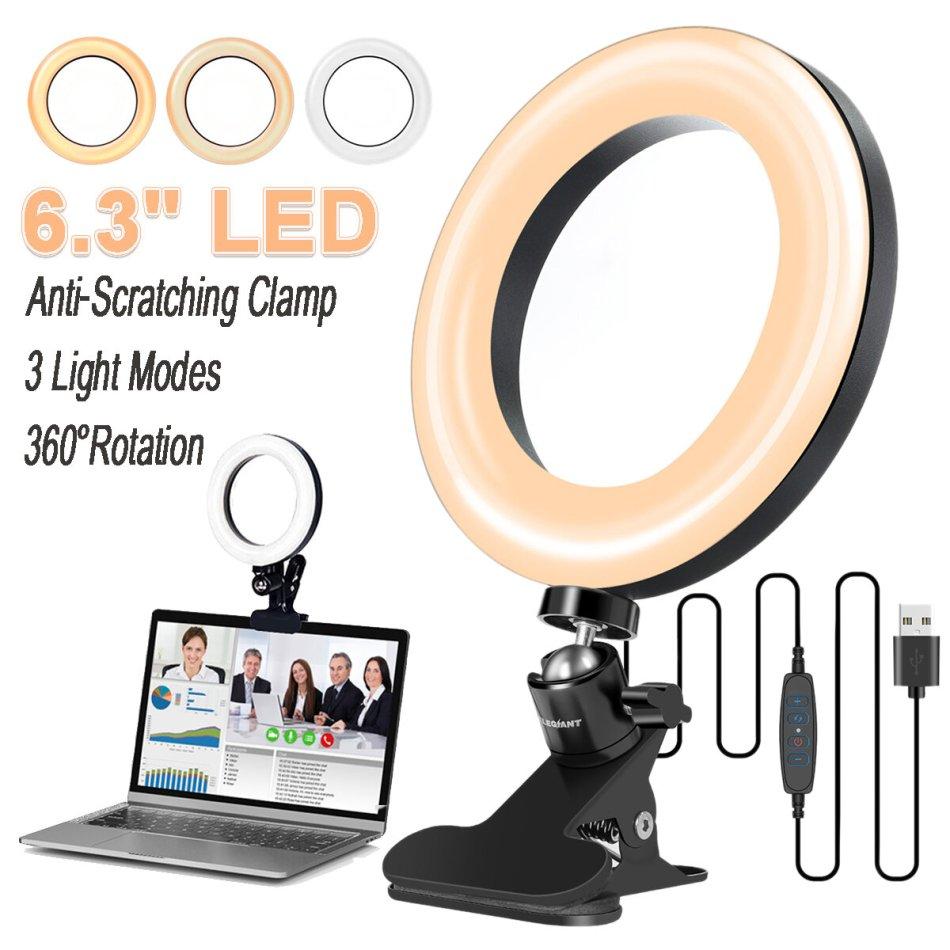ELEGIANT EGL-01 6.3 inch Ring Light 3 Light Modes Stepless Adjustable USB Powered Desktop Fill light Lamp with Clip for Macbook