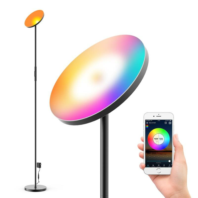 ZENGGE AC100-240V 24W Smart Wifi RGB+CCT 2000LM Floor Lamp Dimmable APP Voice Control Works with Google Home Alexa