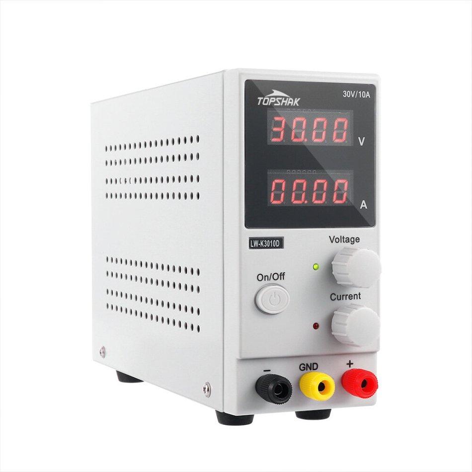 TOPSHAK K3010D 4 Digits LED Display 110V/220V 30V 10A Adjustable DC Power Supply Switching Regulated Power Supply COD