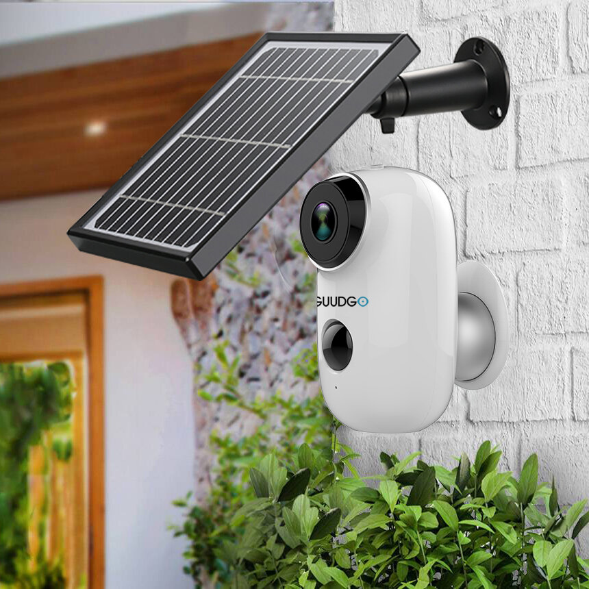 GUUDGO A3 Camera and Solar Panel Set 1080P Wireless Rechargeable Battery-Powered Security Camera Waterproof