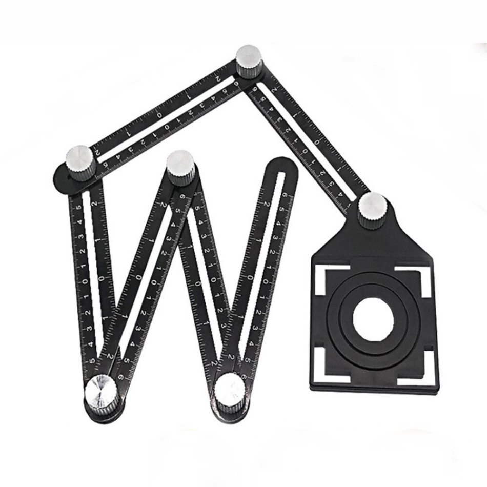 Adjustable Ceramic Tile Hole Locator 6 Folding Multiple Angle Ruler Drill Guide Openings Locator