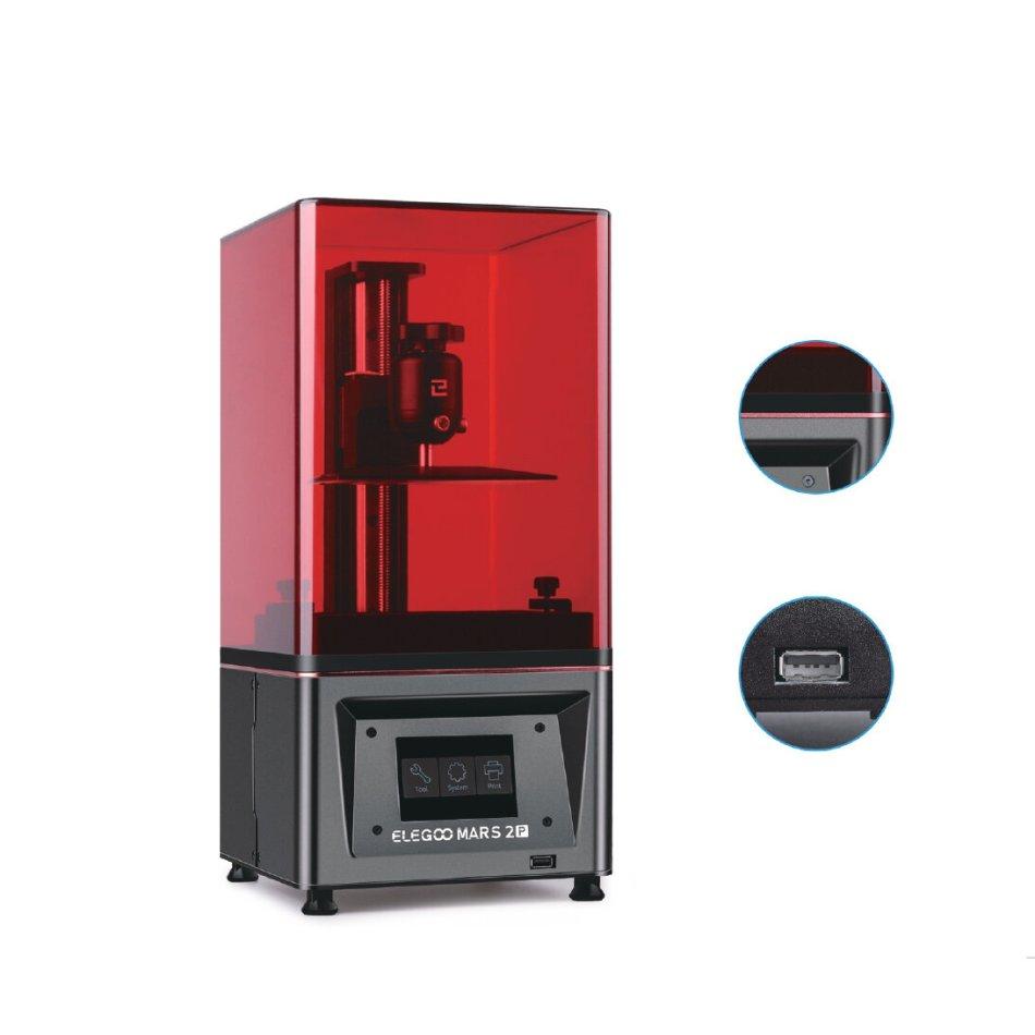 ELEGOO® Mars 2 Pro Mono MSLA 3D Printer UV Photocuring LCD Resin 3D Printer with 6.08inch 2K Monochrome LCD Printing Size 129x80x160mm