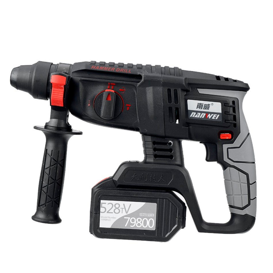 21V NANWEI Power Multifunctional Rotary Electric Cordless Hammer 3 in 1 Electric Drill Picker Brushless Impact With 2 Batteries