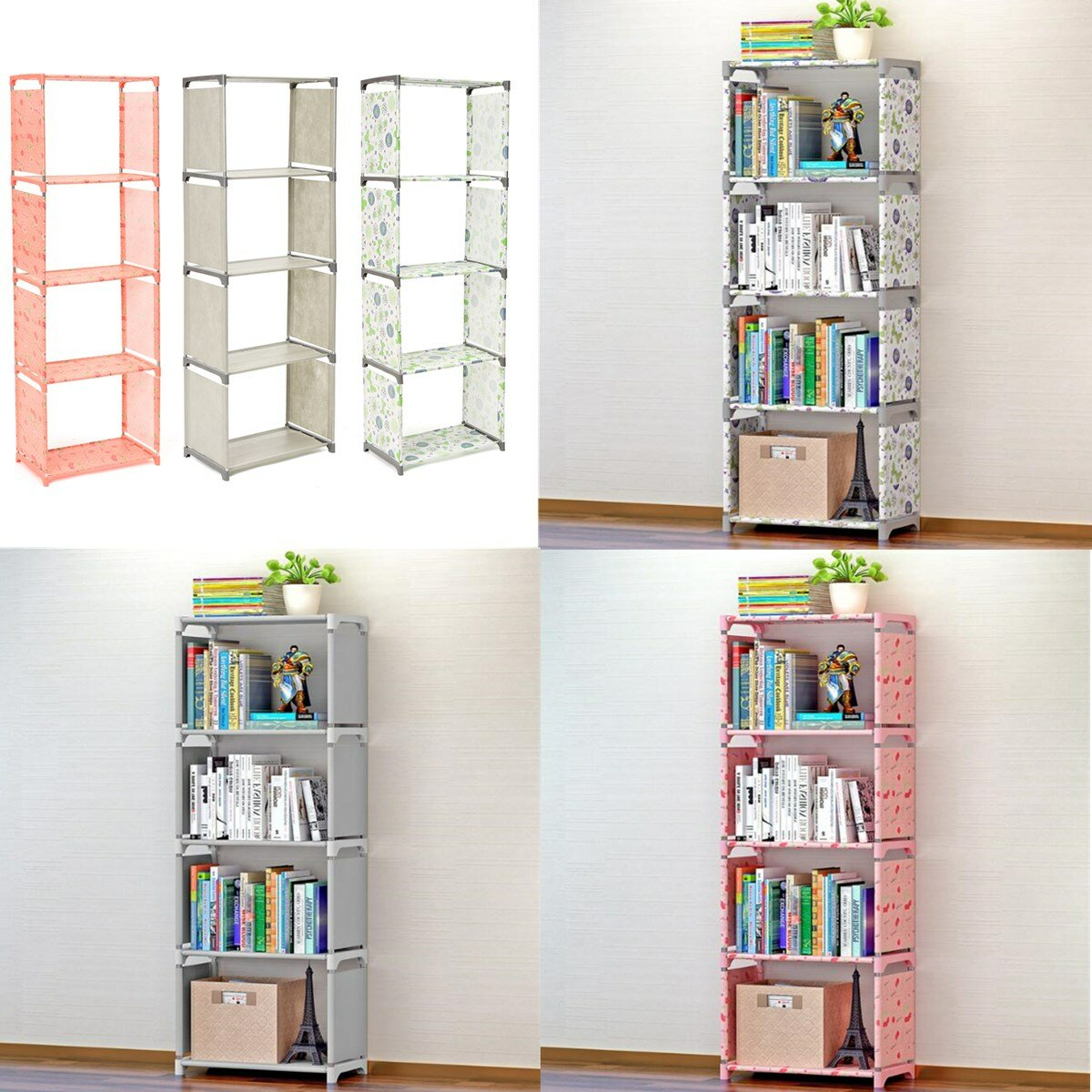 Bookshelf Function Shelving Unit Storage Rack Combined Decor Bookcase Home Books