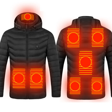 TENGOO 8-Areas USB Electric Heated Jacket Men Women Winter Heating Windbreaker Hiking Thermal Waterproof Jacket Coat For Winter Sports
