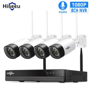Ευρωπαϊκή αποθήκη | Hiseeu WNKIT-4HB312 8CH 1080P Wireless CCTV Security System 2MP IR Outdoor Audio Record IP Camera Waterproof Wifi NVR Kit Video Surveillance