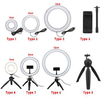 ring light led makeup ring lamp usb portable selfie ring lamp phone holder tripod stand photography lighting
