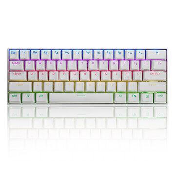 FEKER 60% NKRO bluetooth 4.0 Type-C RGB Cherry MX Switch PBT Double Shot Keycap Mechanical Gaming Keyboard--White