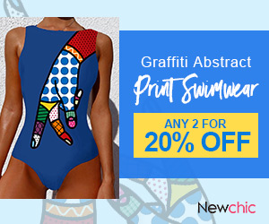 Newchic Abstract Print Swimsuits