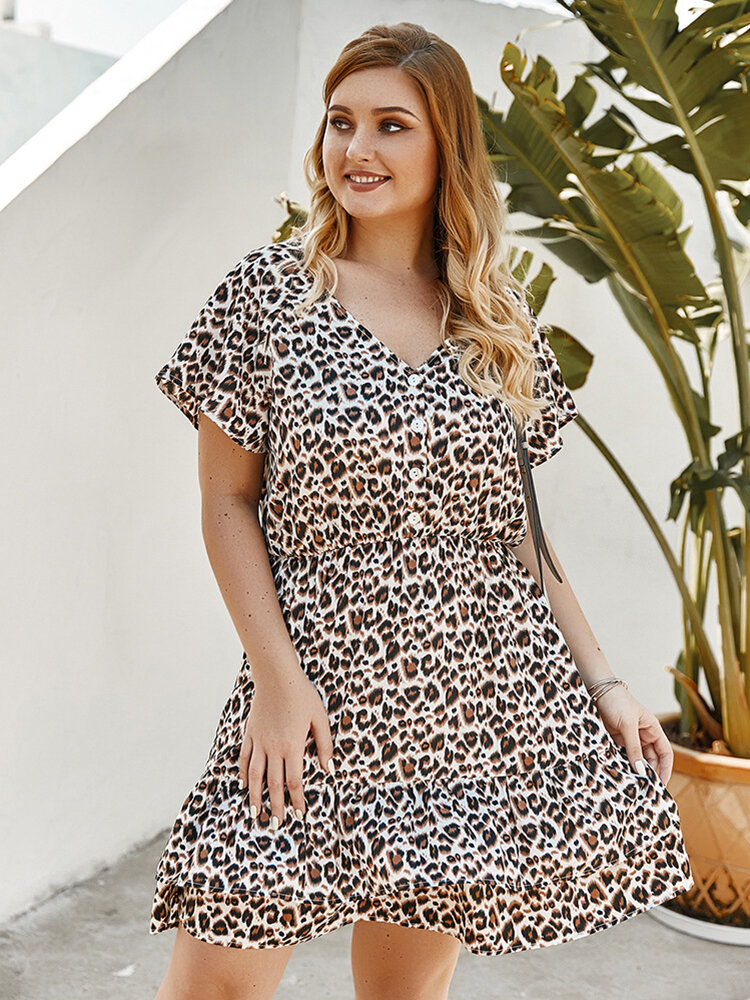 Best Leopard Print Patchwork Button Plus Size Dress You Can Buy