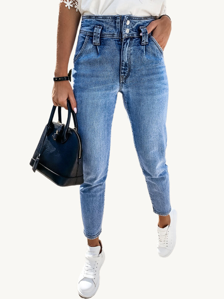 Best Solid Color Elastic High Waist Casual Denim Jeans For Women You Can Buy