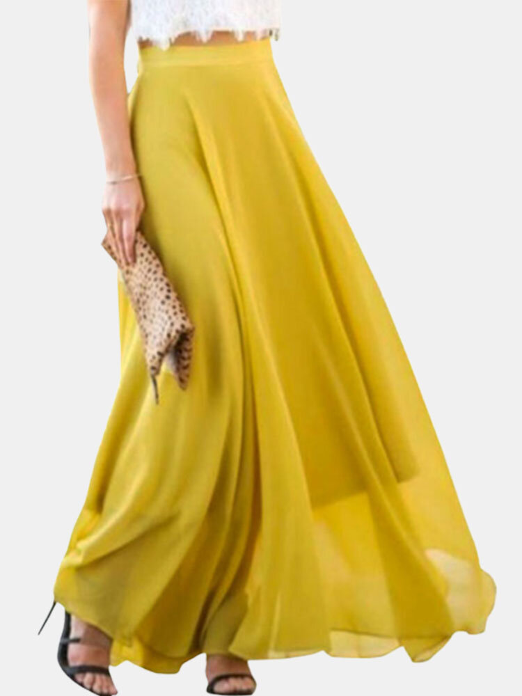 Best Chiffon A-line Loose Solid Color Swinging Plus Size Skirt You Can Buy