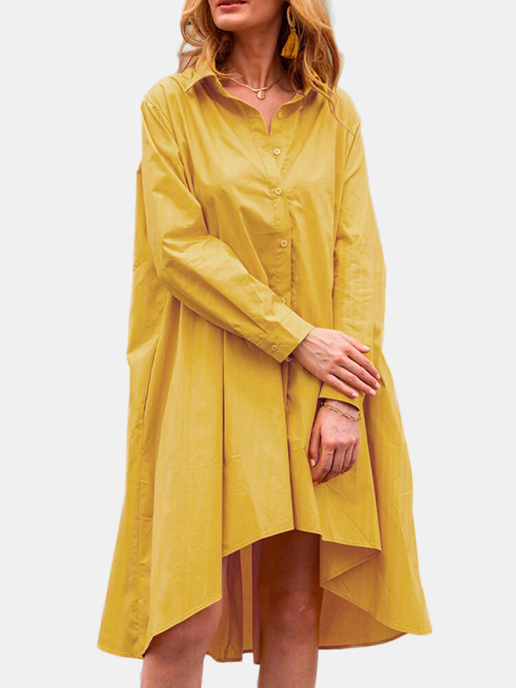 Best Casual Solid Color A-Line Pockets Loose Pleated Dress You Can Buy