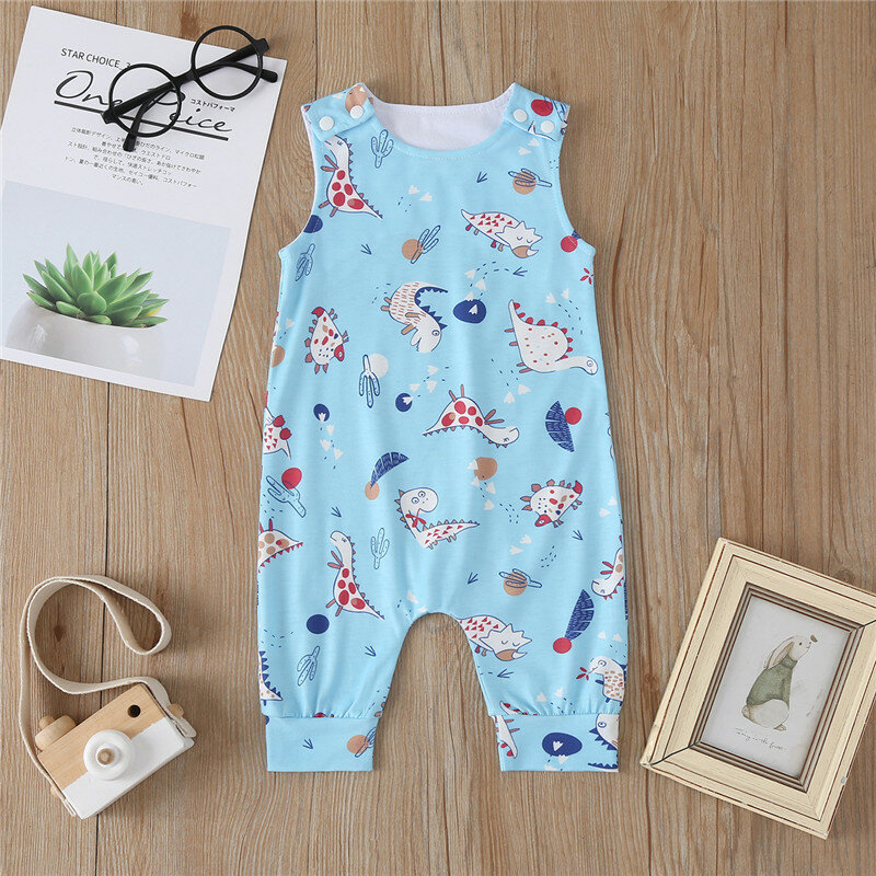 Best Baby Cartoon Print Sleeveless O-neck Casual Blue Rompers For 6-24M You Can Buy