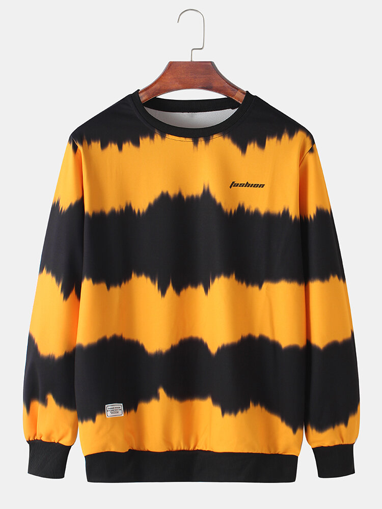 Best Mens Tie Dye Letter Print Logo Casual Crew Neck Sweatshirts You Can Buy