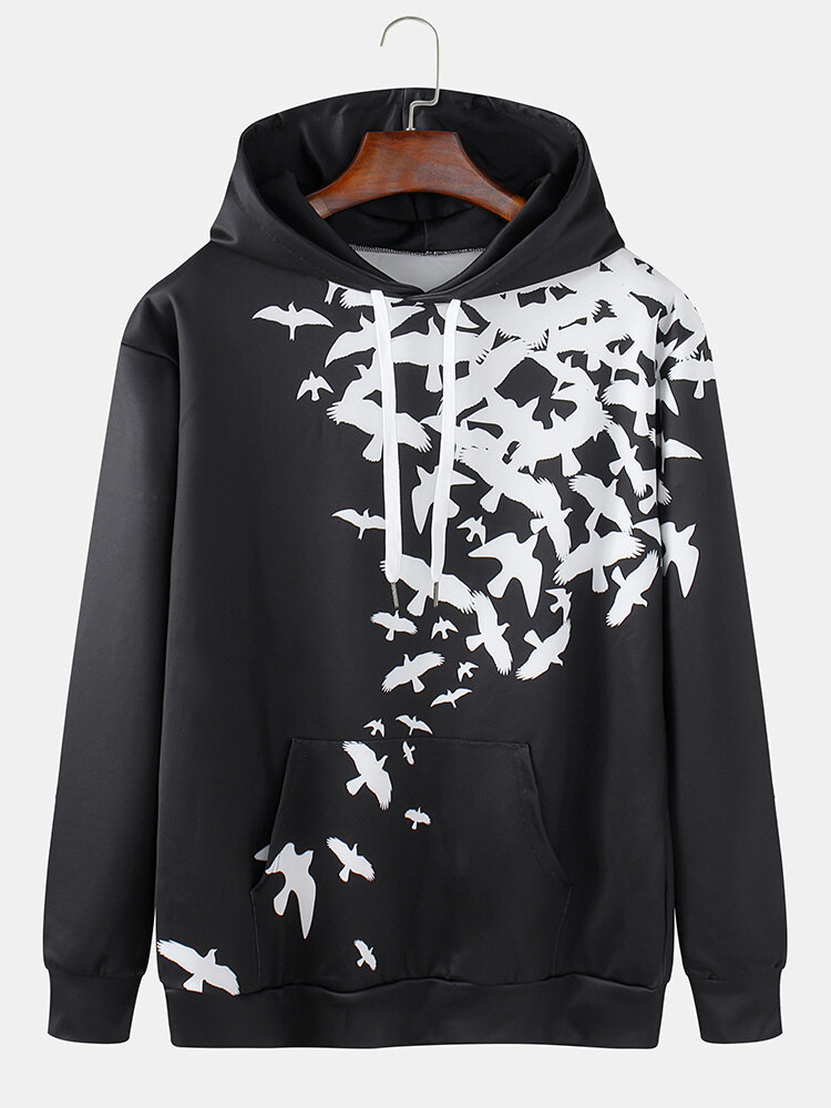 Best Mens Pigeon Print Organic Relaxed Fit Pullover Drawstring Hoodies With Kangaroo Pocket You Can Buy