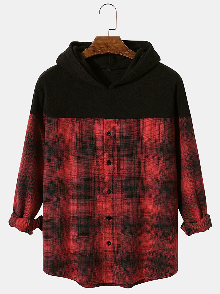 Best Mens Patchwork Plaid Button Up Long Sleeves Shirt Casual Hoodies You Can Buy