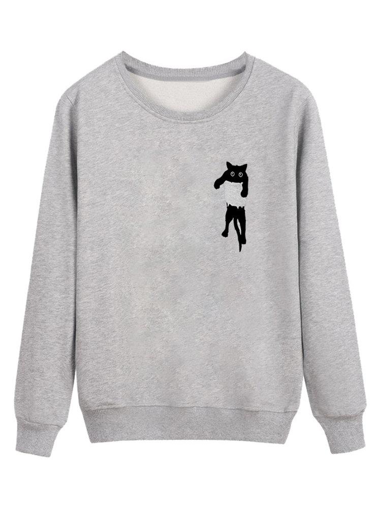 Best Cute Cat Print Long Sleeve Round Neck Sweatshirt You Can Buy