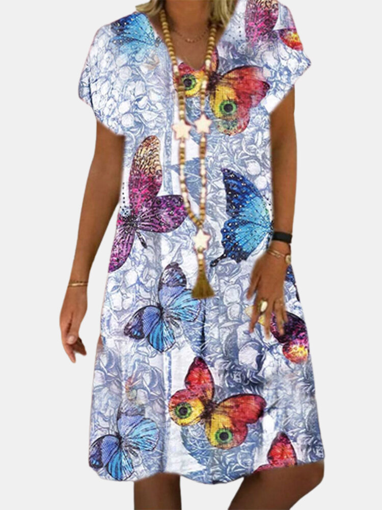 Best Butterflies Print V-neck Short Sleeve Casual Dress You Can Buy