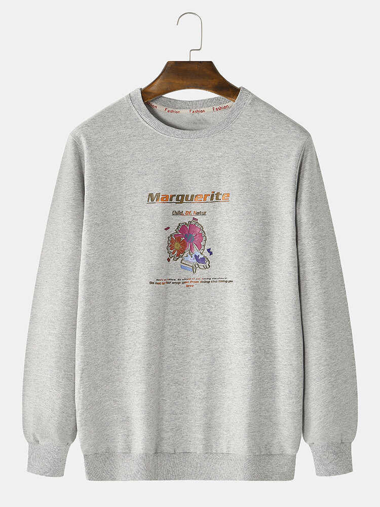 Best Mens Cotton Flower Printed Letter Slogan Casual Crew Neck Sweatshirts You Can Buy