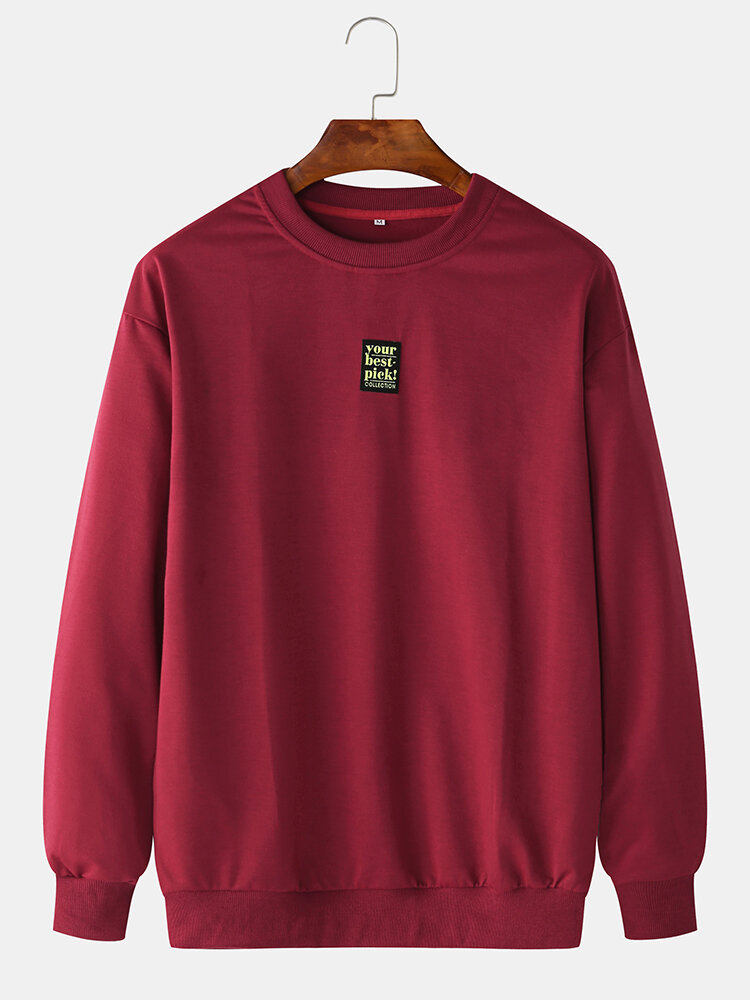 Best Mens Plain Solid Color Little Tag O-neck Sweatshirts You Can Buy