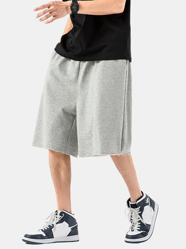 Best Mens Cotton Plain Breathable Drawstring Waist Straight Shorts With Pocket You Can Buy