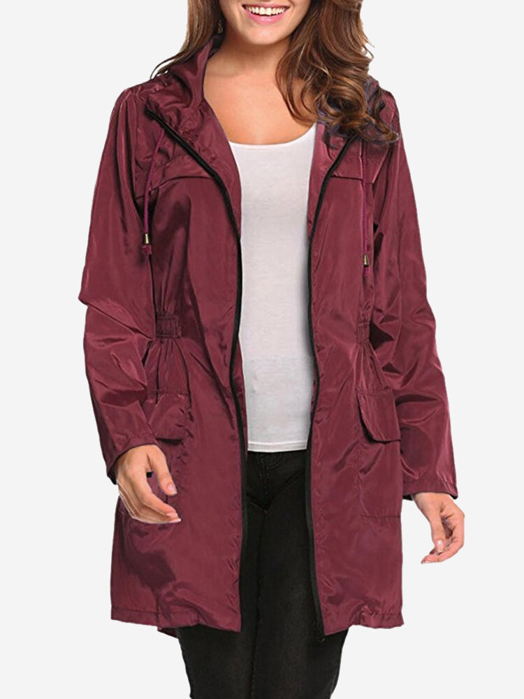 Best Waterproof Hooded Zipper Drawstring Trench Jacket You Can Buy