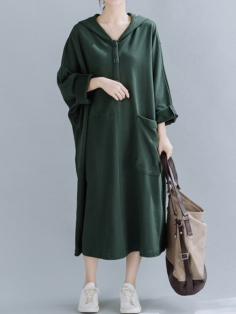 Best Casual Button Bat Sleeve Hooded Plus Size Sweatshirt Dress With Front Pocket You Can Buy