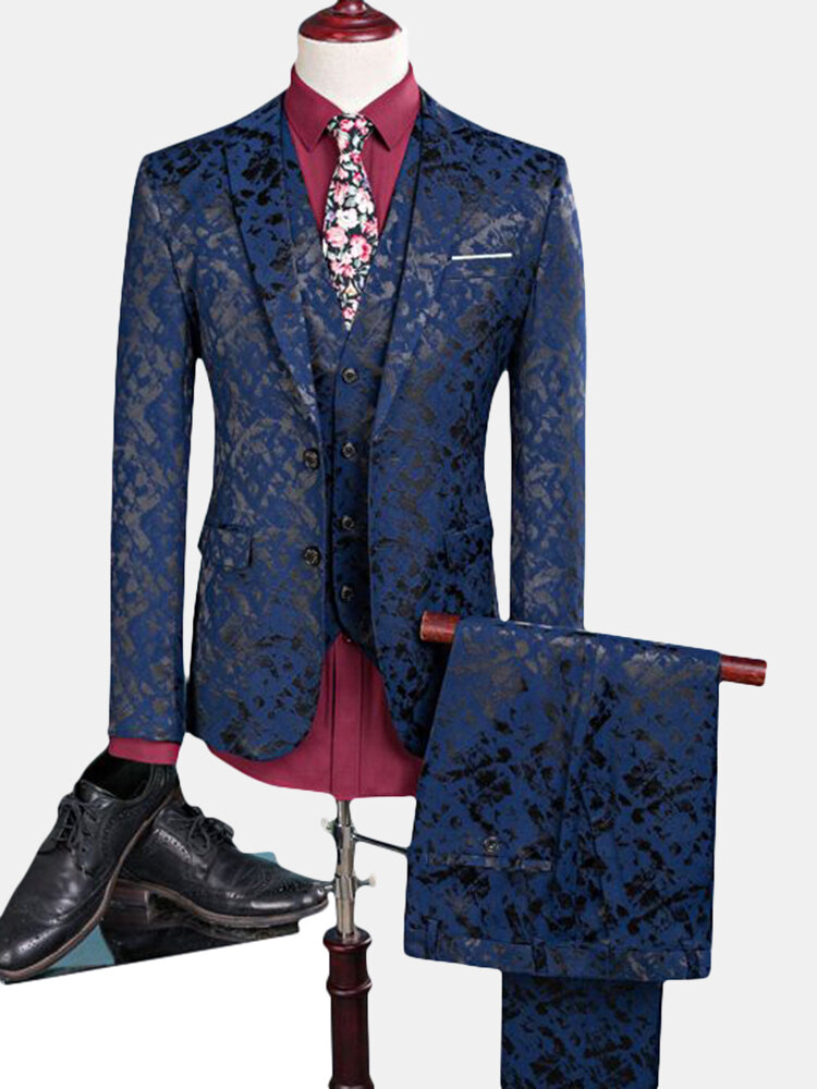 Best Three Pieces Printing Business Wedding One Button Suit for Men You Can Buy