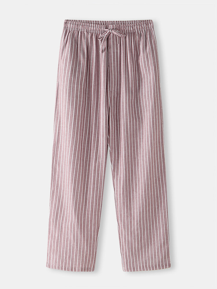 Best Mens Cotton Soft Casual Striped Home Pajamas Drawstring Pants With Pockets You Can Buy