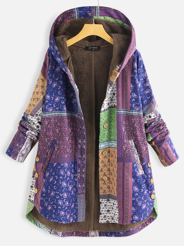 Best Bohenmia Print Patchwork Long Sleeve Hooded Plus Size Coat You Can Buy