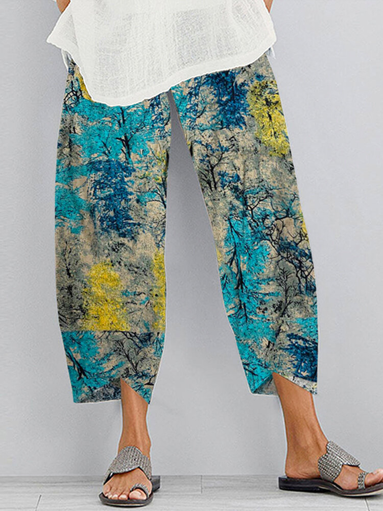 Best Forest Print Elastic Waist Plus Size Pants for Women You Can Buy
