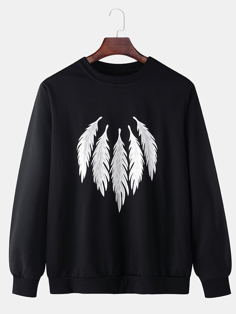 Best Mens Feather Pattern Print Solid Color Cotton Casual Pullover Sweatshirts You Can Buy
